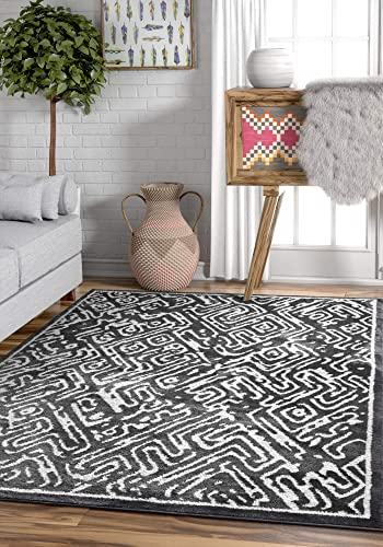 Coda Grey Modern Tribal Microfiber 5×7 5 3 x 7 3 Area Rug Charcoal White Vintage Geometric Carpet