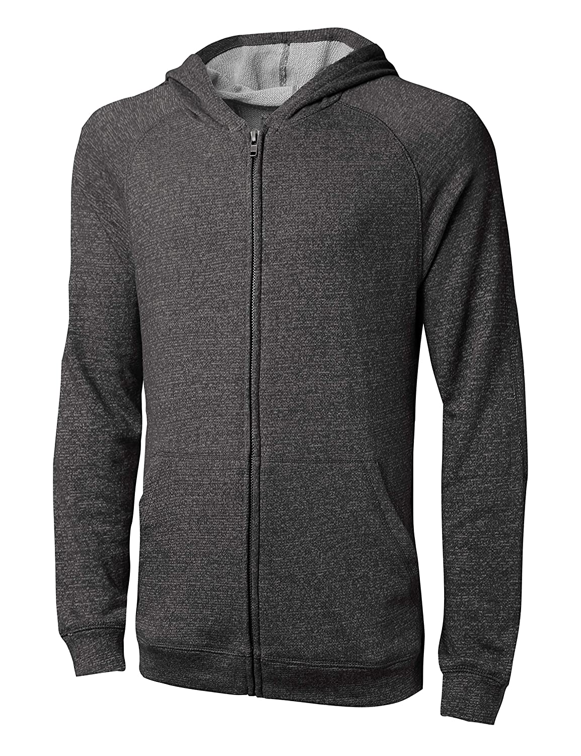 Hat and Beyond Mens French Terry Full Zip Up Fleece Hooded Sweatshirt Lightweight Casual Jacket