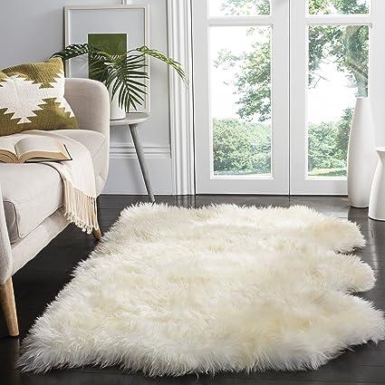 P Safavieh Sheepskin Collection SHS211A Genuine Pelt Handmade White  Premium Shag Rug 3u0027 X