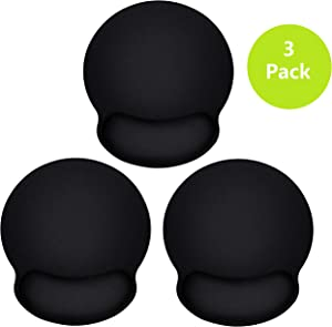 Best Value 3 Mouse Pad with Support Bar, Ergonomic Mouse Pad with Gel Wrist Rest Support, Gaming Mouse Pad with Lycra Cloth, Non-Slip PU Base for Computer, Laptop, Home, Office & Travel, Black-3 Pack