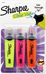 Sharpie 1912767 Clear View Chisel Tip Highlighters, Assorted Highlighter, 3-Carded, Yellow, Pink and Orange(1912937)