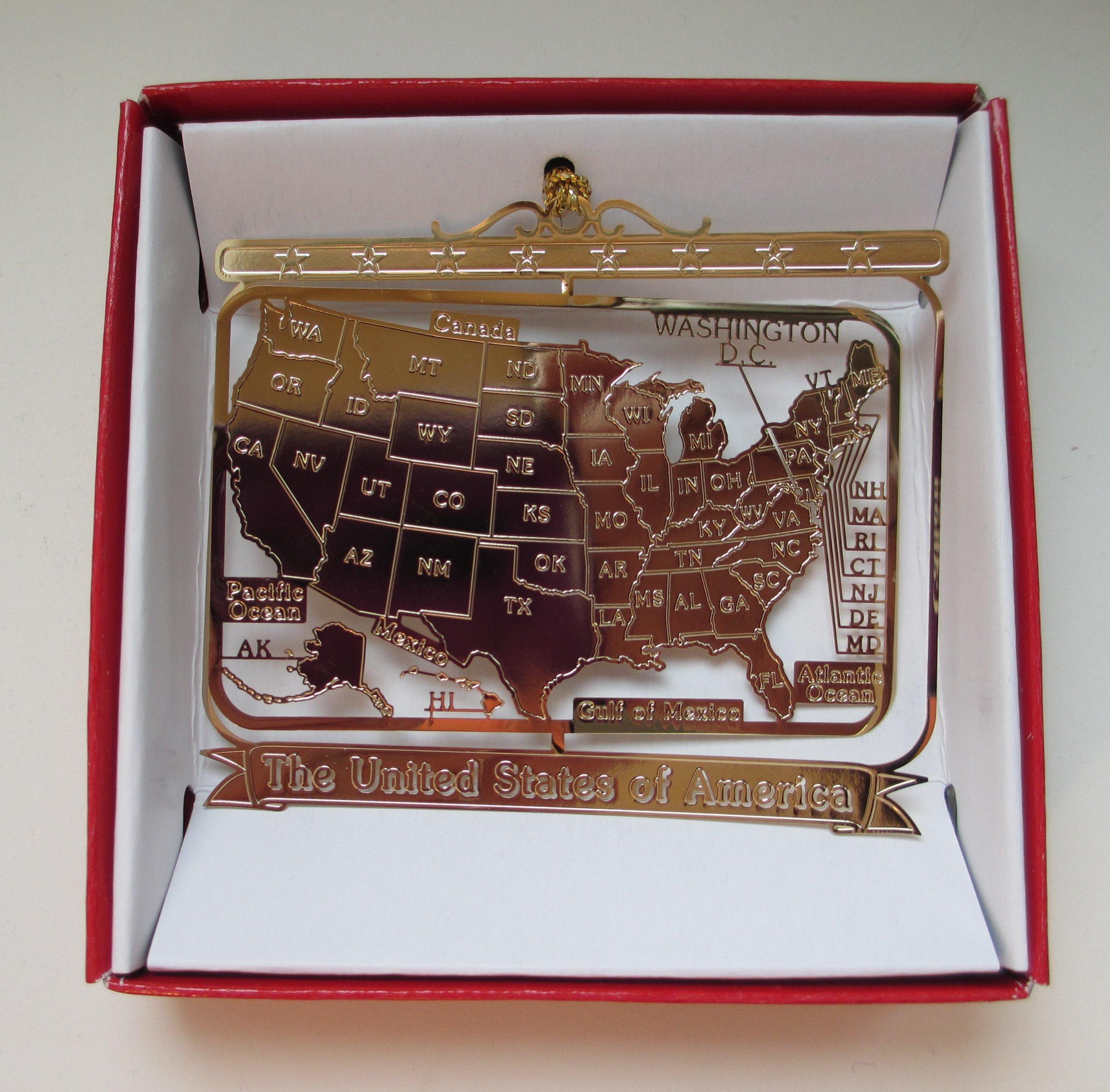 U.S.A. Brass Christmas ORNAMENT America 50 States USA Souvenir Gift