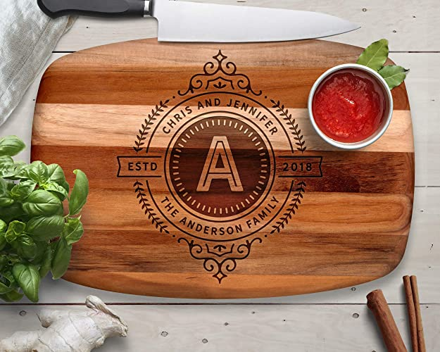 engraved cutting board teak monogrammed gifts gifts for him gifts for