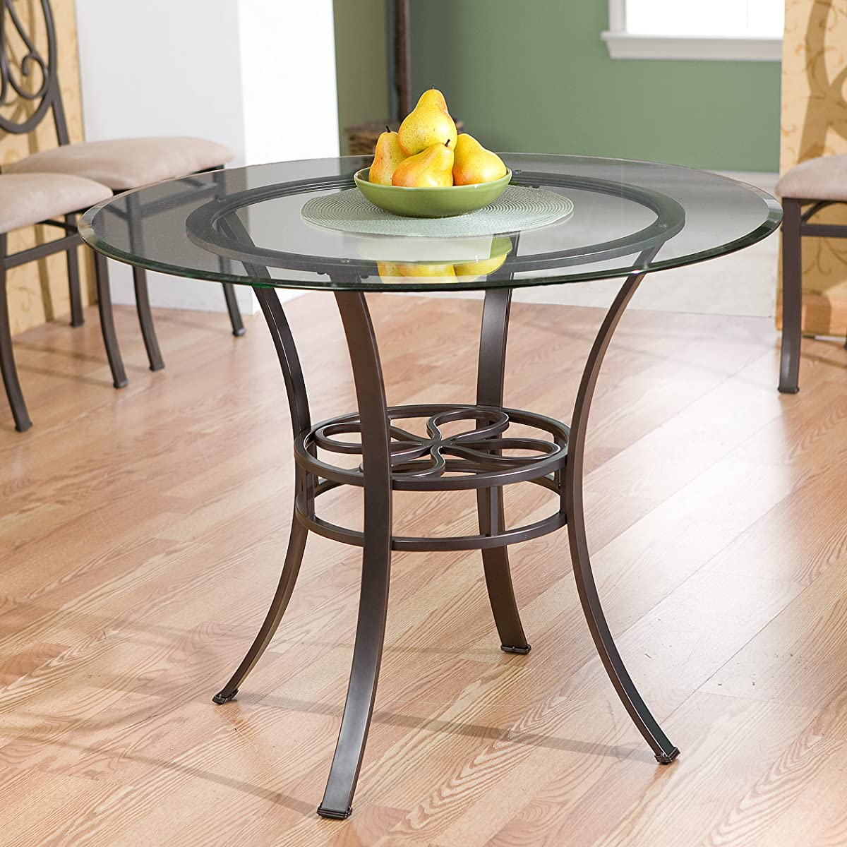 Southern Enterprises Lucianna Glass Top Dining Table, Dark Brown Finish