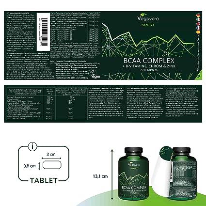 BCAA Vegavero SPORT® 5000 mg | 270 COMPRIMIDOS | Con Vitaminas B + Cromo + Zinc | Sin Aditivos | Suplemento Energía + Proteína + Masa Muscular | ...