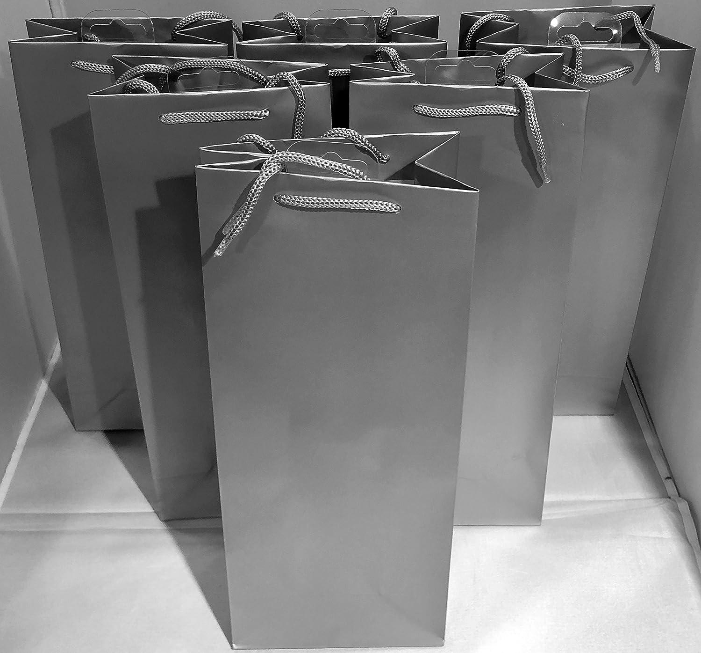 6 x Hallmark Silver Bottle Bags for Wine , Sparking Wine , Champagne -13cm x 9 cm x 33cm