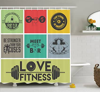 Amazon Ambesonne Fitness Shower Curtain Various Motivational