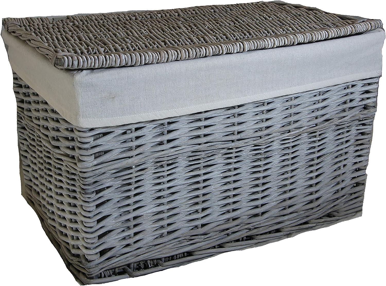 Rey - Cesta de mimbre para almacenamiento (3 tamaños grandes), diseño lavable, ratán y mimbre, Gris, 75 litre: Amazon.es: Hogar
