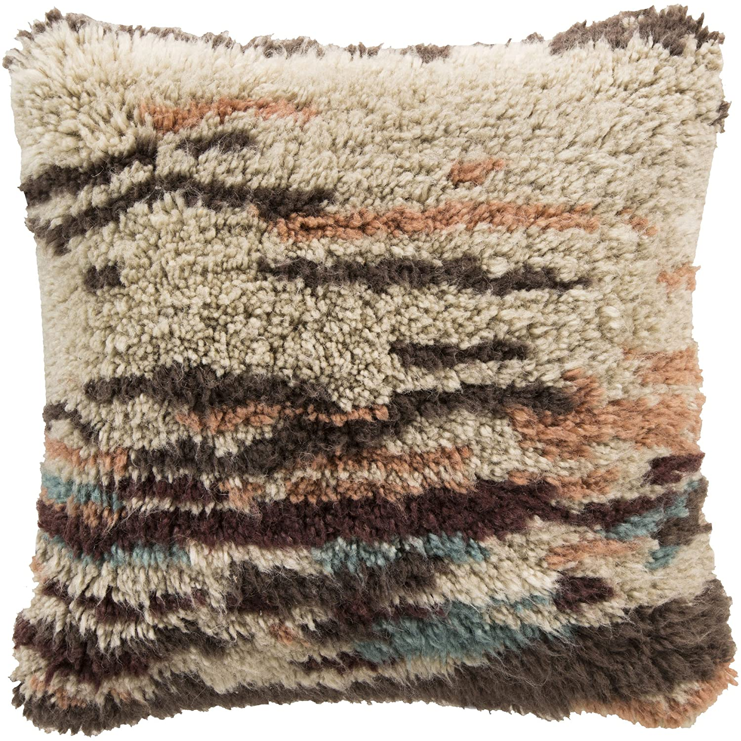 22-Inch by 22-Inch Beige//Salmon//Charcoal//Burgundy//Sky Blue Surya RC002-2222D Down Fill Pillow