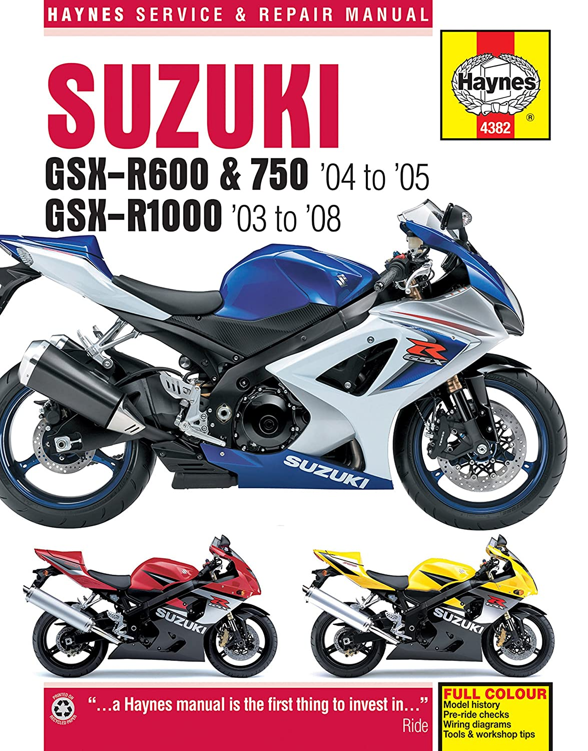 Amazon.com: Suzuki GSXR600 GSXR750 GSXR1000 GSXR 600 750 1000 HAYNES REPAIR  MANUAL 4382: Automotive