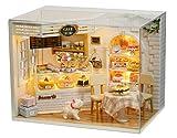 GutMai 初心者DIY、1/24 CAKE DIARY(ケーキ日記)、西洋菓子が満載、ケーキショップ、ミニチュア手作りドールハウス、組立てキート、プレゼント(LEDライト オルゴール 防塵ケース付き)