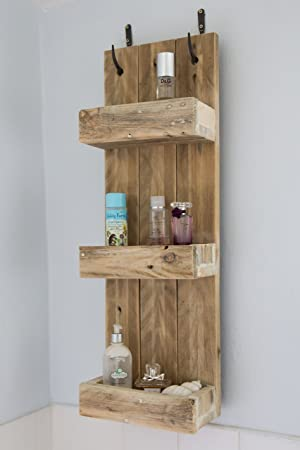 Rustic Bathroom Shelves Made From Reclaimed Pallet Wood Amazon Co