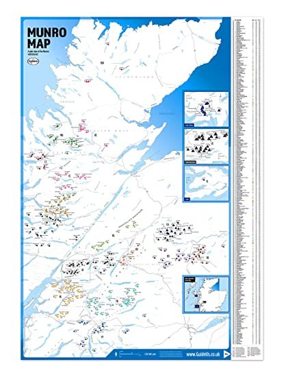 Munro Map with Munro Tick-List Scotland Munro Bagging Map: GuideUs ...