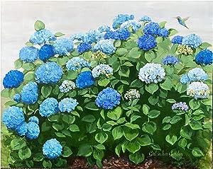 Girl in Her Garden, Decorative Floor Mat Blue Hydrangea Flower Colorful Floral Doormat Indoor for Home Kitchen Bath 24 x 36 Inches
