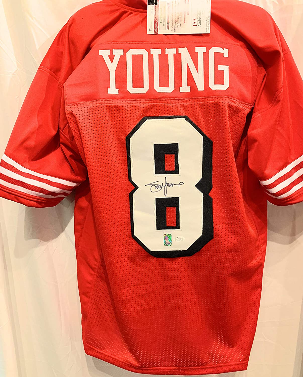 c60c5399a2c Steve Young San Francisco 49ers Signed Autograph Embroidered Custom Jersey  Young GTSM Hologram JSA Witnessed Certified