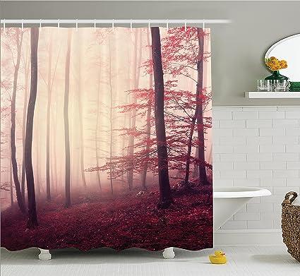 Ambesonne Fall Shower Curtain Set Woodland Decor, Fantasy Marsala Color  Foggy Forest Jungle Dreamy Wilderness