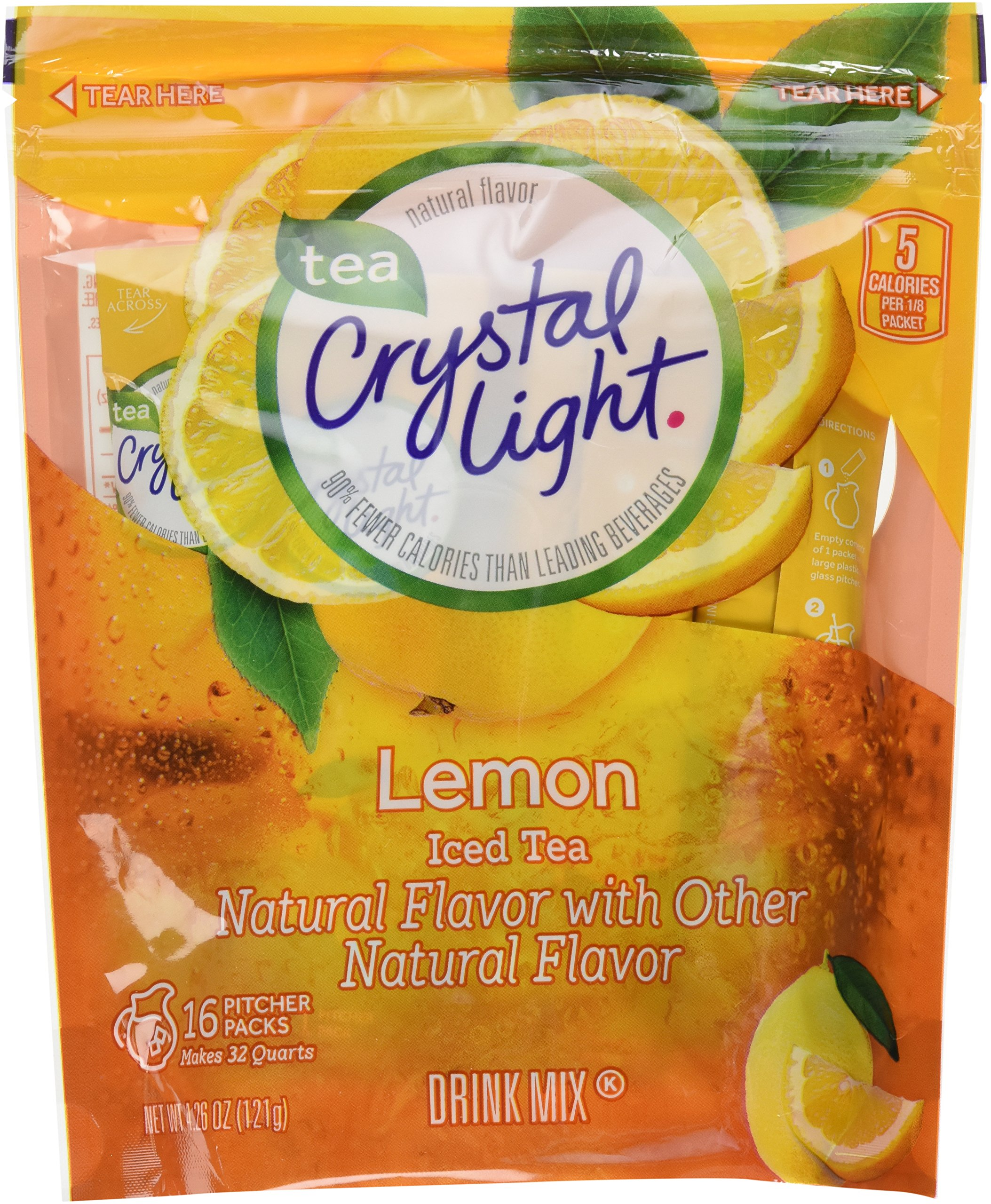 Crystal Light Ice Tea, Natural Lemon, 32 Count 2 Pack of 16ct,64 Quarts by Crystal Light