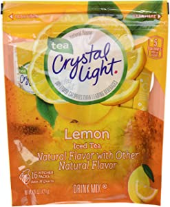 Crystal Light Ice Tea, Natural Lemon, 32 Count 2 Pack of 16ct,64 Quarts