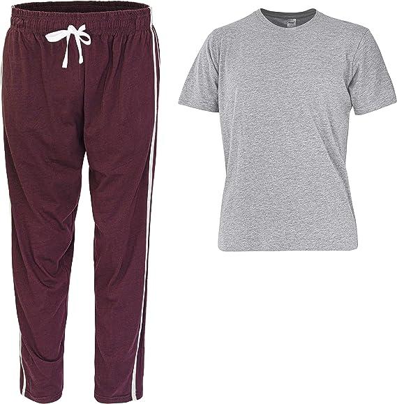 Pijama para hombre super suave mezcla de algodón para hombre pijama pijama para hombre ropa de noche desgaste salón Gris/Granate XXL: Amazon.es: Ropa y accesorios