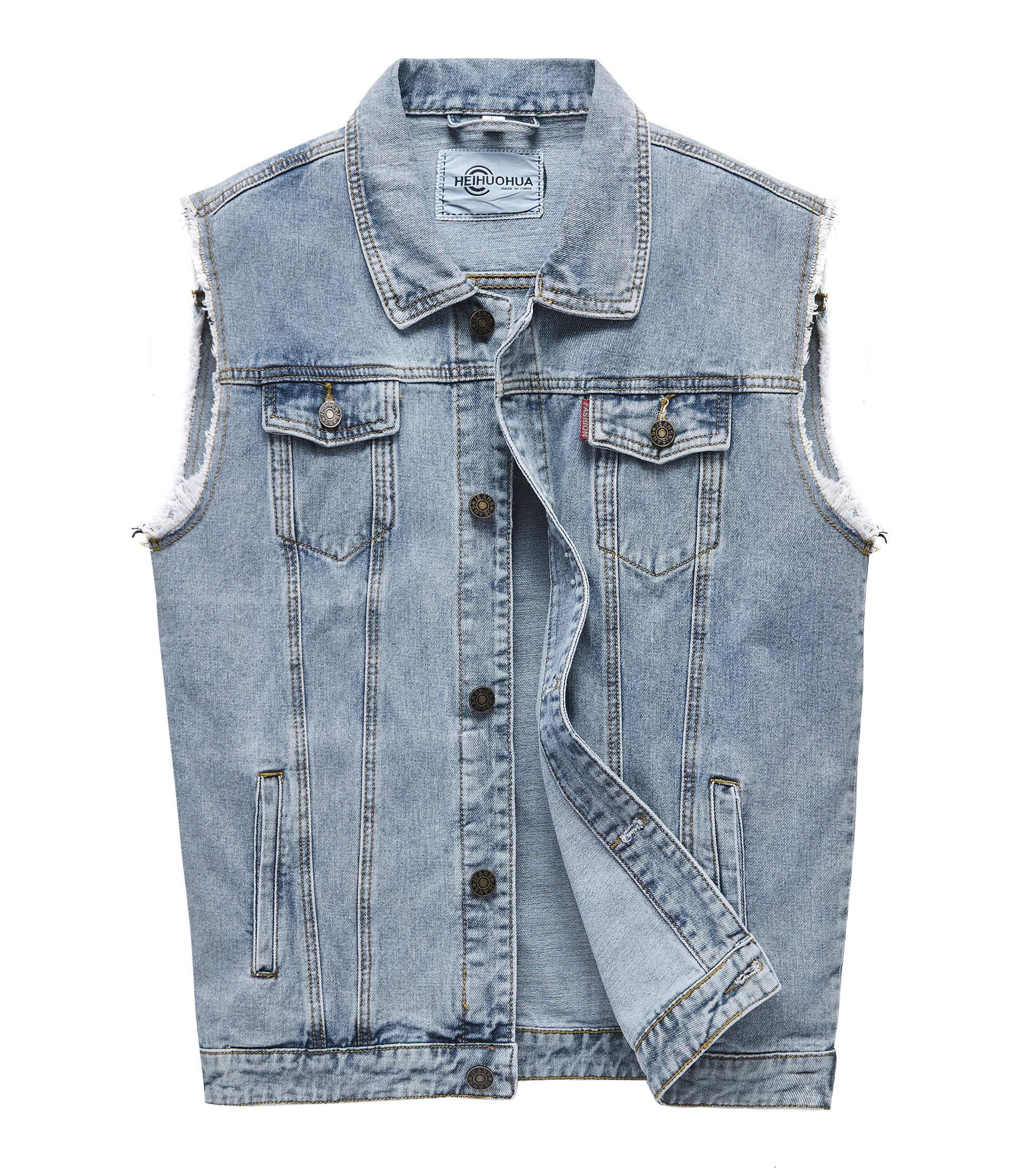 Heihuohua Men's Casual Button-Down Denim Vest Trucker Jean Jacket (X-Large, Denim Blue) by Heihuohua