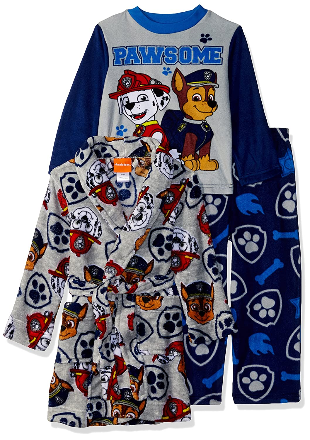 Nickelodeon Boys' Paw Patrol 3 Piece Robe Pajama Set