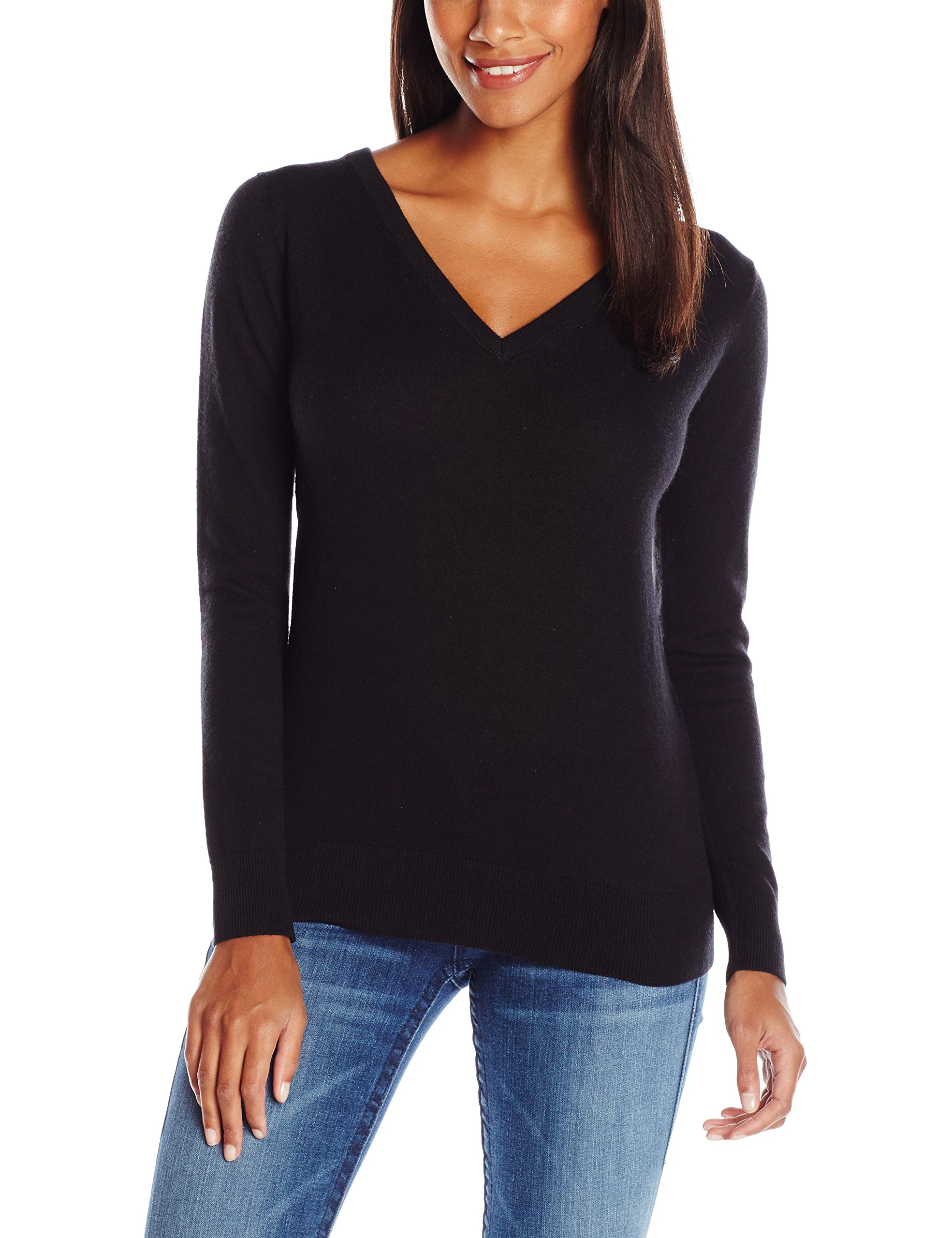 Minnie Rose Women's New and Now Cashmere Super Fine Back Front V-Neck Cowl, Black, Medium by Minnie Rose (Image #2)