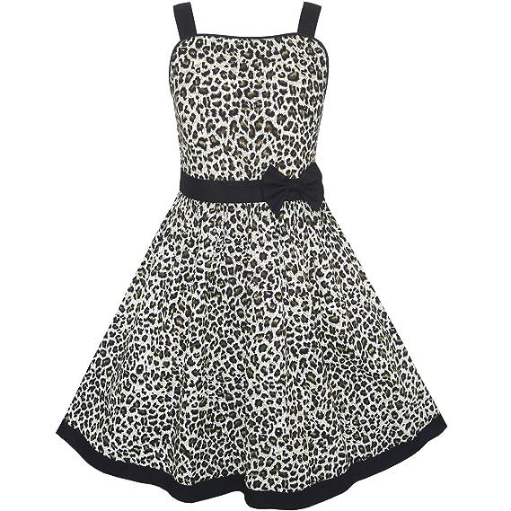 7a521edbb Sunny Fashion KN15 Girls Dress Leopard Print Summer Beach Age 11-12 ...