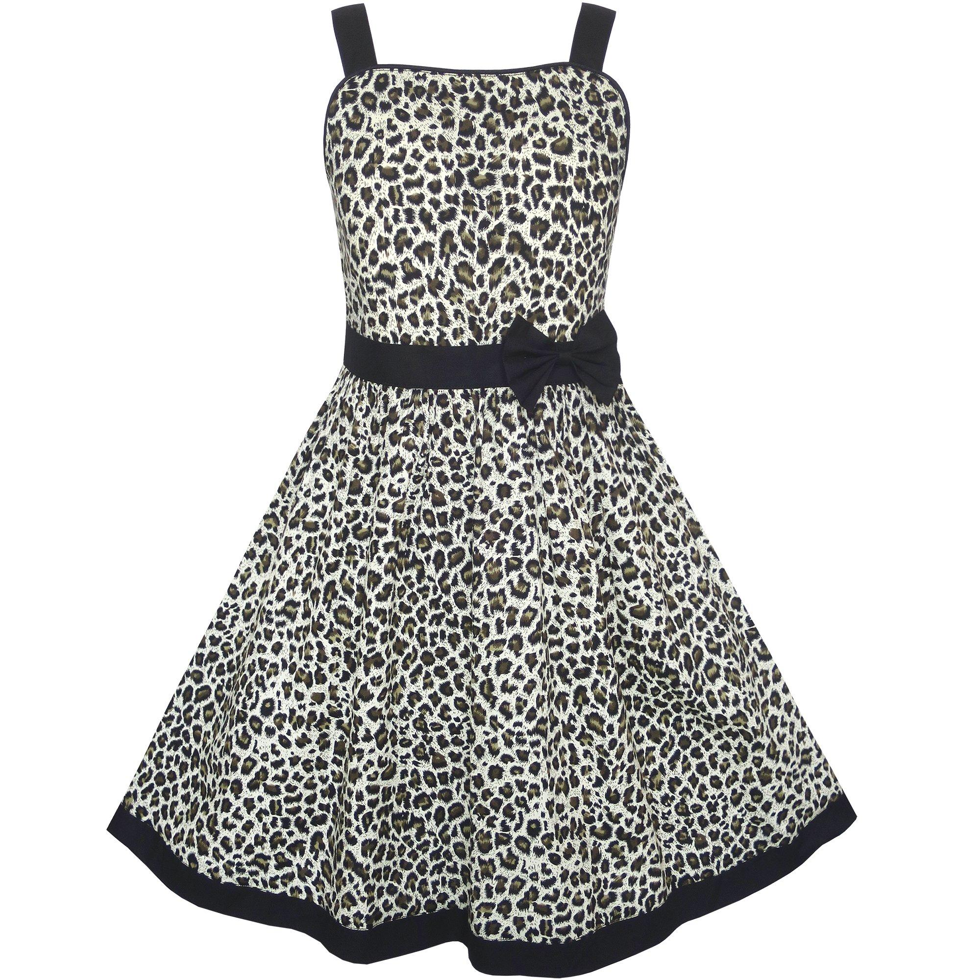 KN14 Girls Dress Leopard Print Summer Beach Size 9-10
