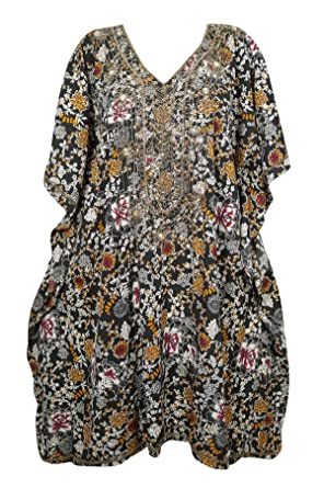 46e3658979 Image Unavailable. Image not available for. Color: Sequin Work Black Floral  Short Caftan Kimono Cover Up Beach Swimwear One Size