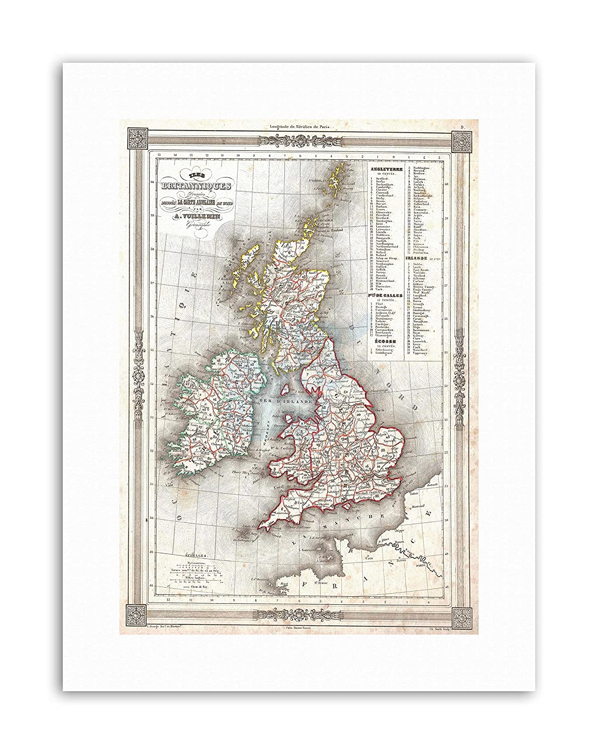 ATTRACTIVE 1852 MAP THE BRITISH ISLES BY VUILLEMIN Vintage Canvas art Prints