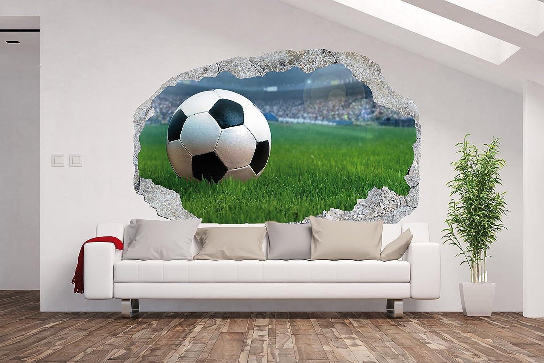 Vlies Fototapete   Poster XXL  3D Wandillusion  Loch in der Wand FußballFußballStadionBallKinderzimmer