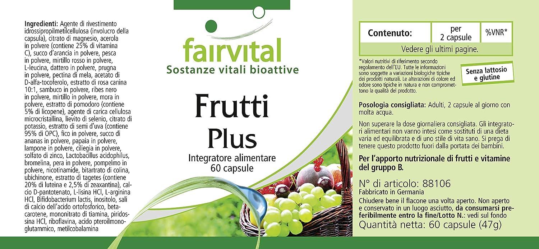 Fruit Plus - 1 mes - ALTA DOSIS - 60 caps - polvo de fruta de calidad - multivitaminas naturales con cultivos de bacterias buenas: Amazon.es: Salud y ...