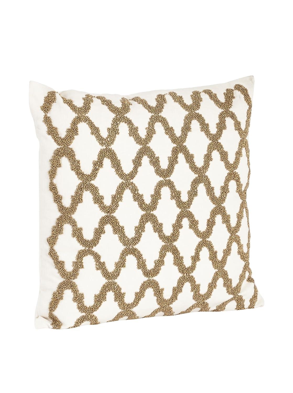 Bronze 18 SARO LIFESTYLE H6085.BZ18S Square Beaded Design Down Filled Throw Pillow