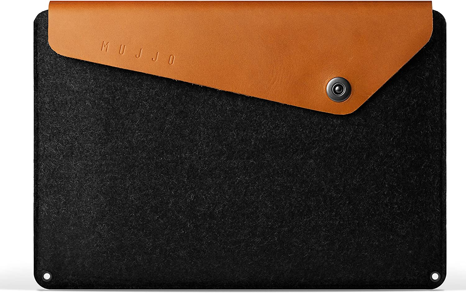 Mujjo Sleeve for MacBook Pro 15-inch | Premium Wool Felt, Genuine Leather Flap with Snap Button Closure | Storage Compartments, Card Pocket (Tan)