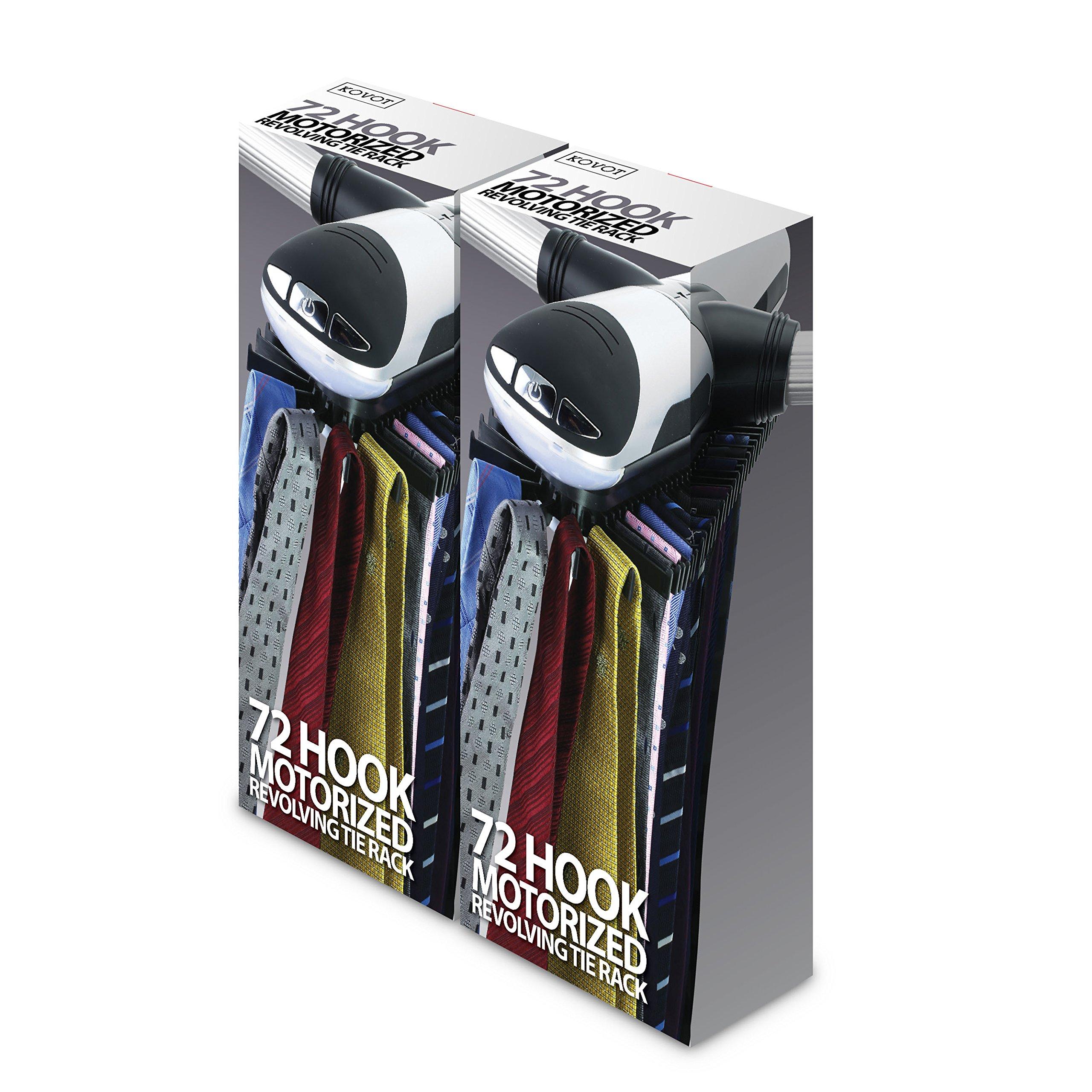 KOVOT 72 Hook Motorized Tie Rack and Belt Rack with Built in LED Lighting by Kovot