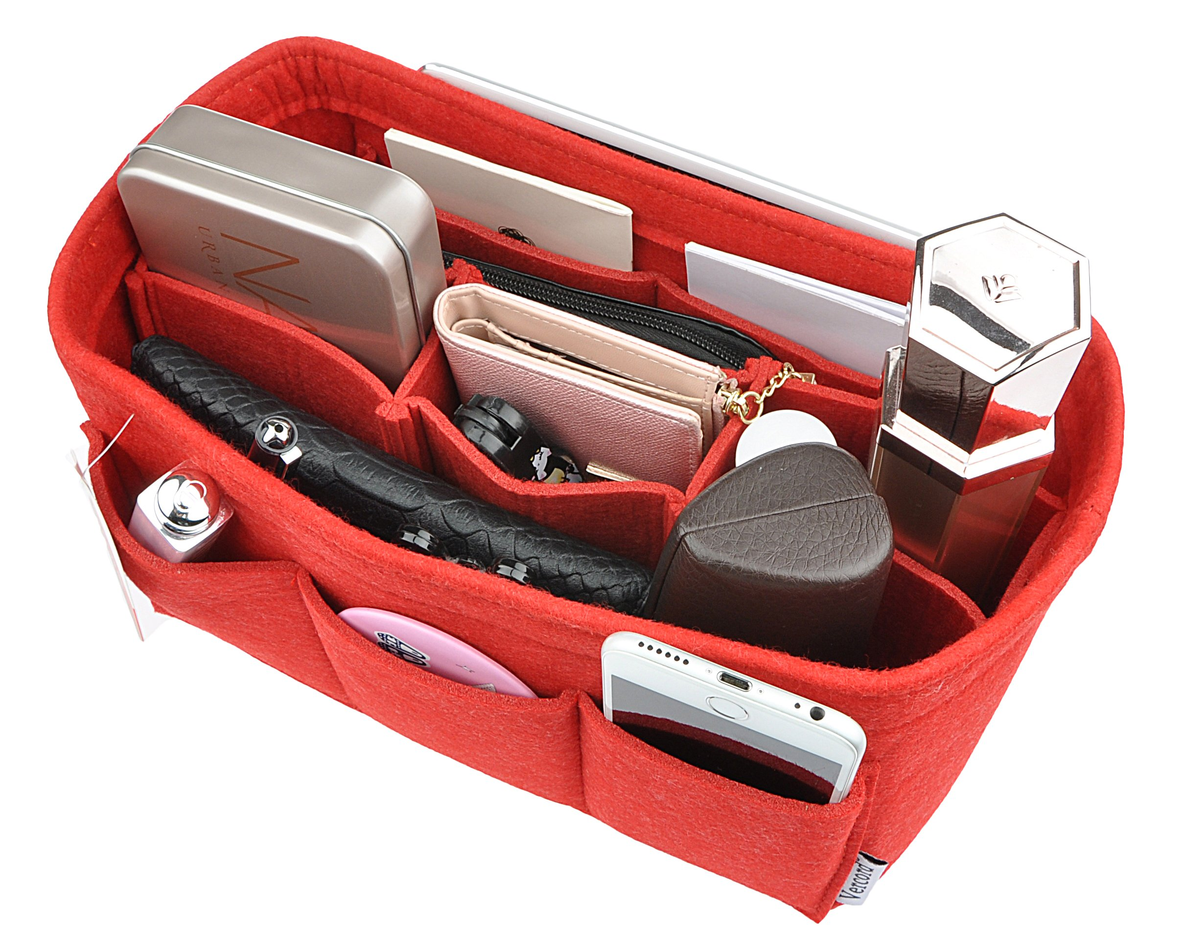Women's Purse Organzier Sturdy Felt Handbag Liner Insert Bag Red M by Vercord