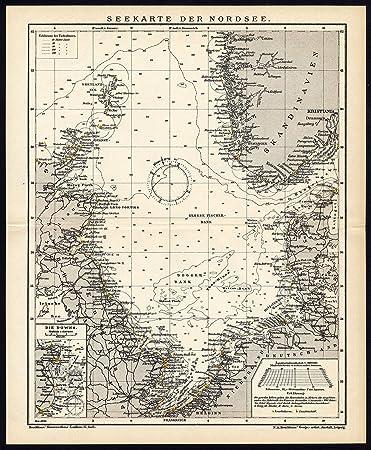 Antike Karte Sea Abbildung Nordsee England Niederlande Danemark