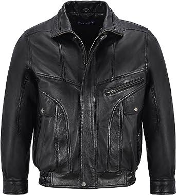 Men/'s Vintage Leather Jacket Black Classic Rough Biker Style Real Lambskin 8553