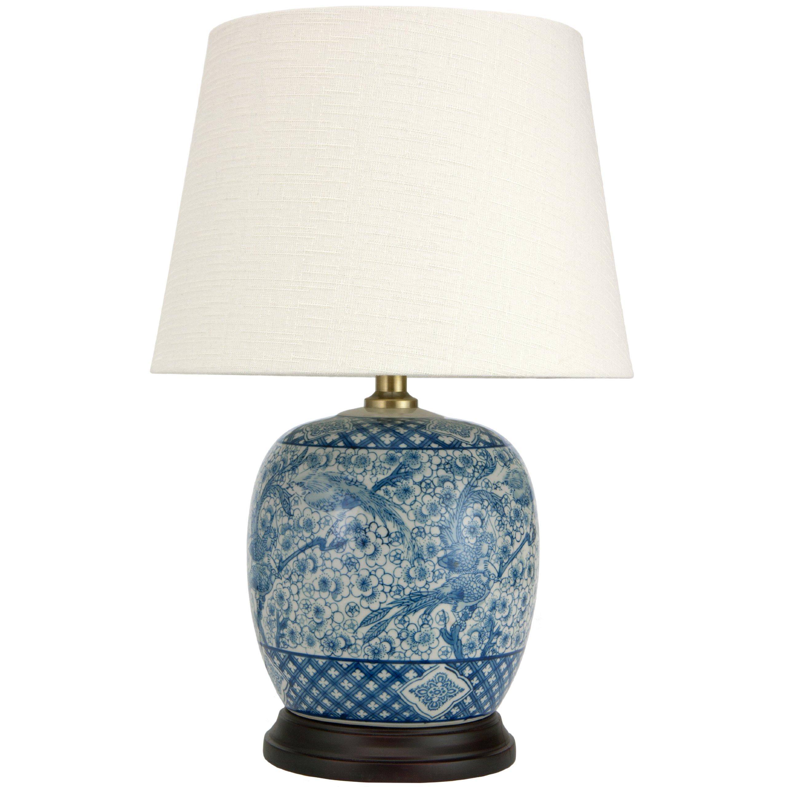 Oriental Furniture 20'' Classic Blue & White Porcelain Jar Lamp