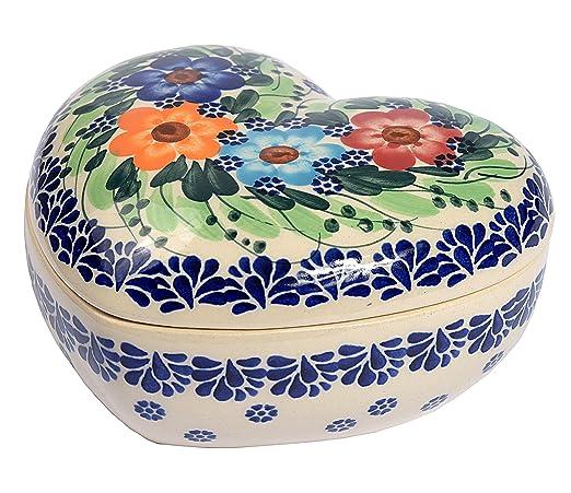 Tradicional polaco Pottery, de cerámica artesanal en forma de corazón caja (275 ml), d.401