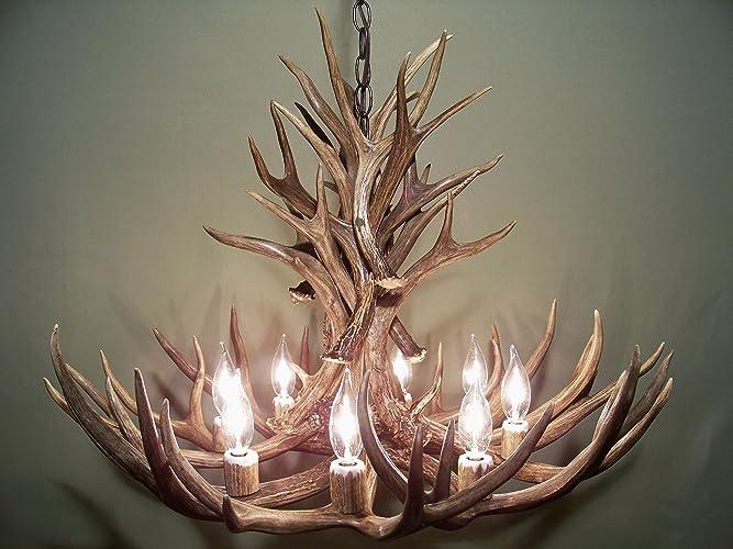 real antler chandelier homemade real antler chandelier lights shed mule deer art elk covered sockets amazoncom