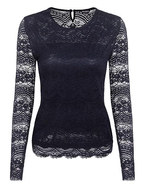 38163ee49992fc Zeagoo Damen Sommer Spitzenshirt Lace Top Business Langarmshirt Elegant  Rundhals Oberteile, Dunkelblau, EU 36