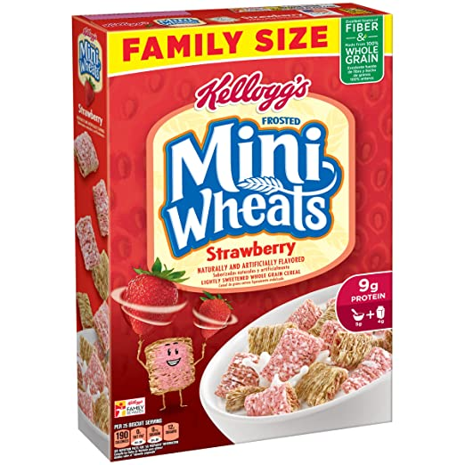 Amazon.com: Kelloggs Breakfast Cereal, Frosted Mini-Wheats, Strawberry, Low Fat, Excellent Source of Fiber, Family Size, 21 oz Box: