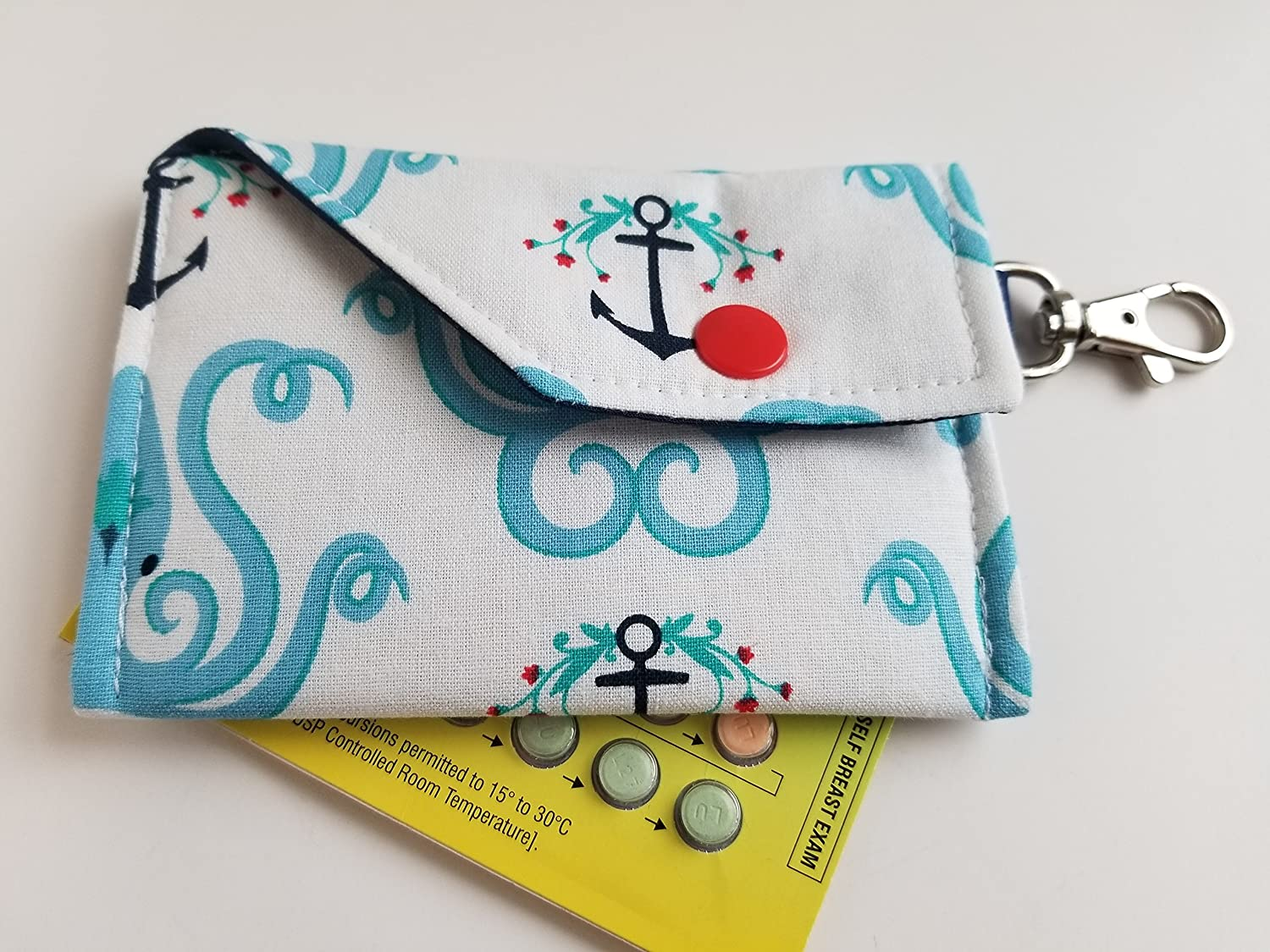 Birth Control Case Sleeve with Snap Closure and Optional Keychain Clip -Kraken Takeover