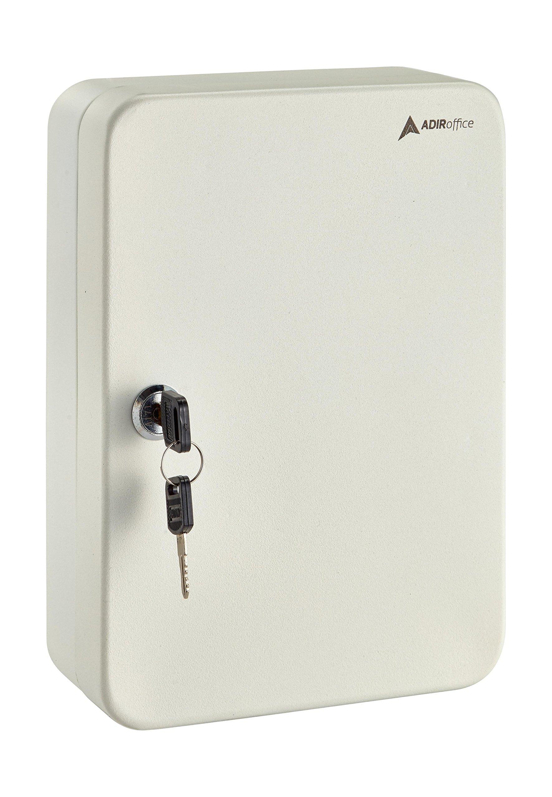 AdirOffice Key Steel Security Storage Holder Cabinet Valet Lock Box (48 Key, White)