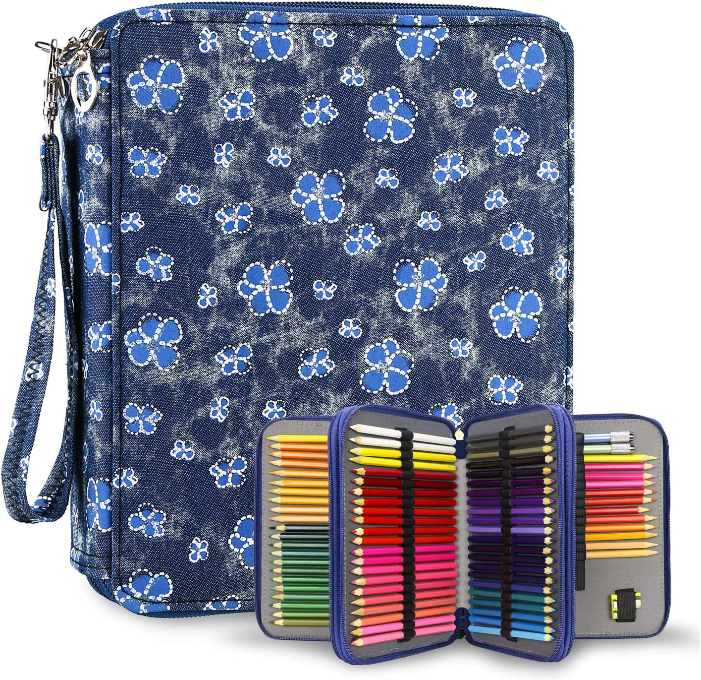 ROOCHL Colored Pencil Case 120 Slots Pencil Holder Pen Bag Large Capacity Pencil Organizer with Handle Strap Handy Colored Pencil Box with Printing Pattern Bowknot Jungle