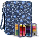 YOUSHARES 120 Slots Colored Pencil Case – Oxford Fabric Pen Case with Compartments Pencil Holder for Watercolor Pencils (Deni