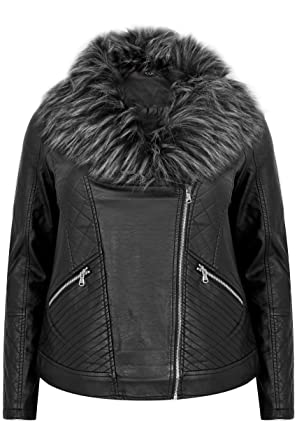 b3ccfc2d223 Yours Women s Plus Size Pu Leather Look Biker Jacket with Faux Fur Collar  Size 16 Black