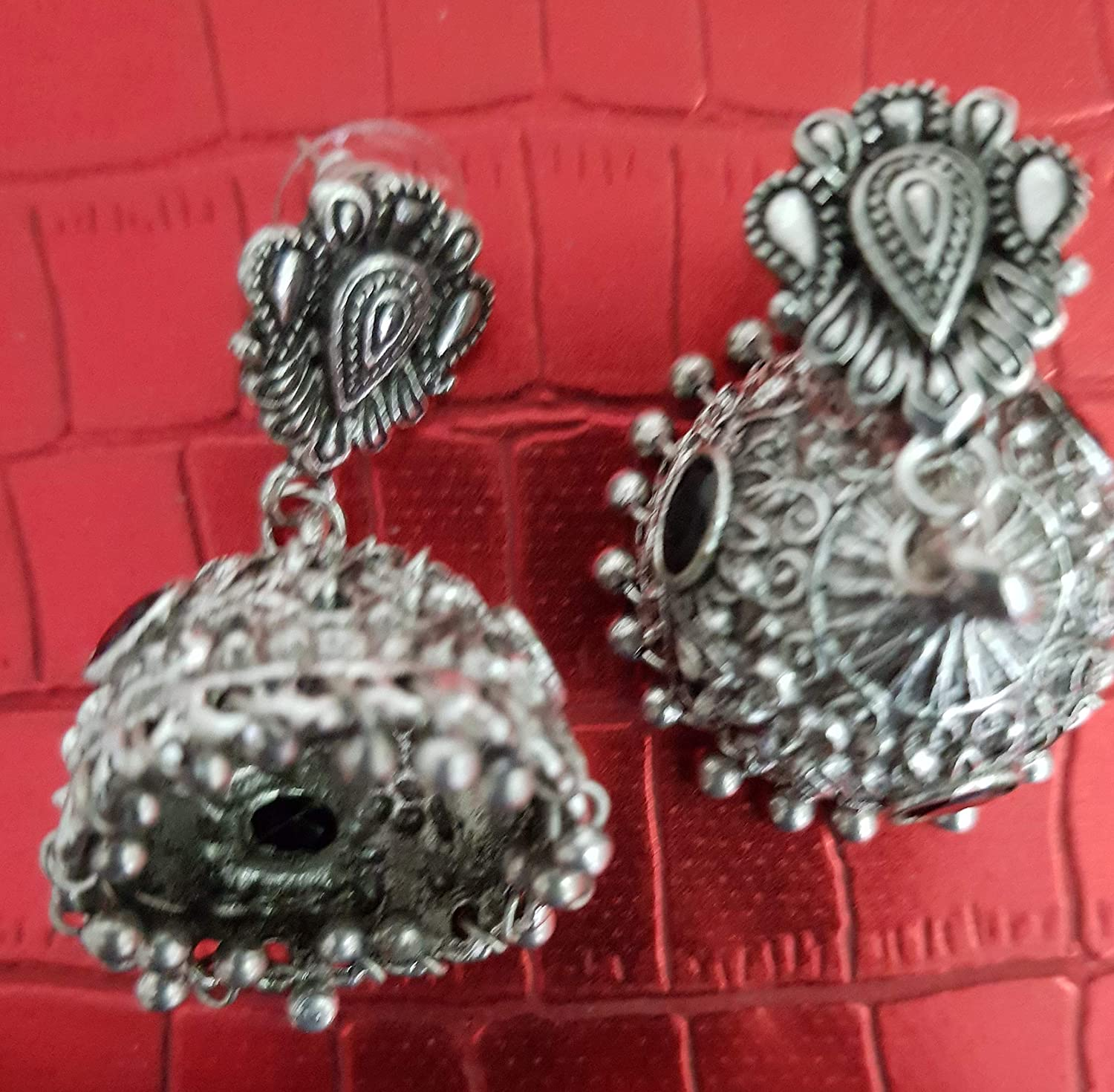 Sansar India Bollywood Three Level Beaded Oxidized Silver Plated Jhumkas Jhumki Indian Earrings Jewelry for Girls and Women
