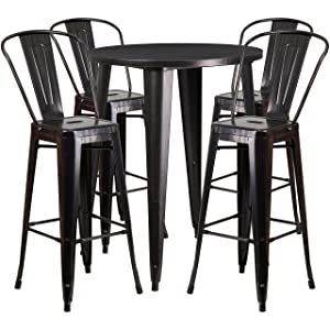 Flash Furniture 30'' Round Black-Antique Gold Metal Indoor-Outdoor Bar Table Set with 4 Cafe Stools